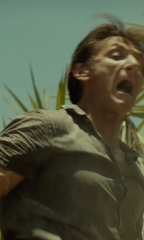 Sean Penn with Dondup Short Sleeve Shirt in The Gunman
