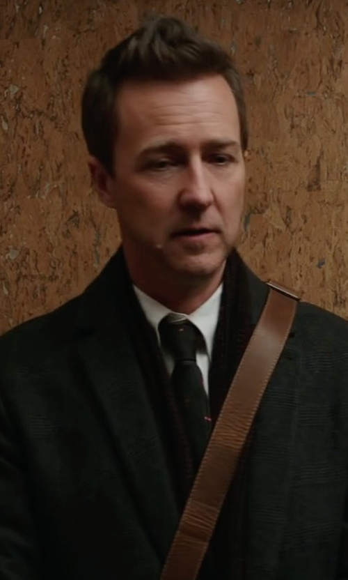 Edward Norton with Acne Studios Charles Cashmere & Wool Top Coat in Collateral Beauty