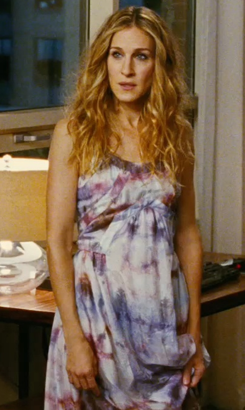 Sarah Jessica Parker with Veronique Branquinho Tie-Dye Print Cotton Dress in Sex and the City