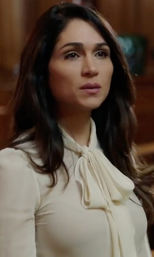 Lela Loren with Sandro Caline Tie-Neck Silk Shirt in Power