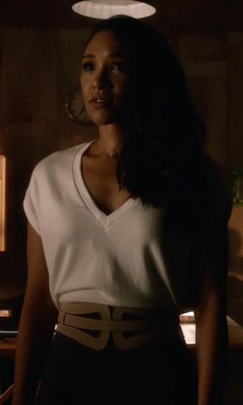 Candice Patton with BCBGMAXAZRIA Cutout Buckle Waist Belt in The Flash