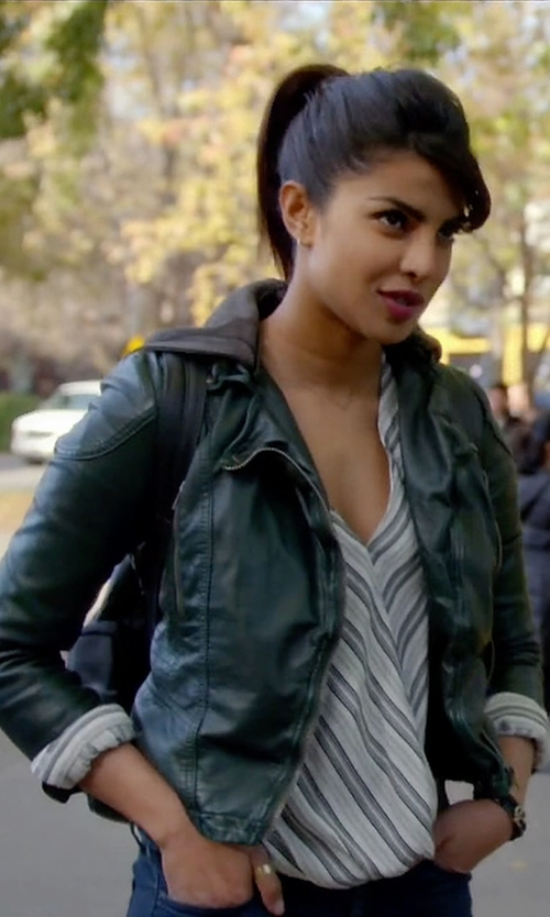 Priyanka Chopra with Free People Hooded Vegan Moto Jacket in Quantico
