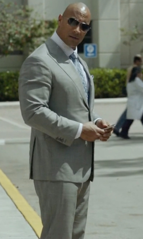Dwayne Johnson with Armani Collezioni Two-Button Solid Wool Suit in Ballers
