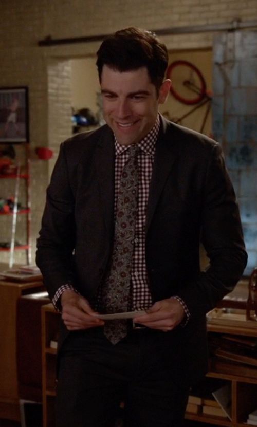 Max Greenfield with Brooks Brothers Black Fleece Check Shirt in New Girl