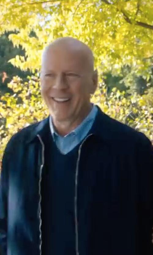 Bruce Willis with Gant Diamond G Merino Silk V-Neck Sweater in Death Wish