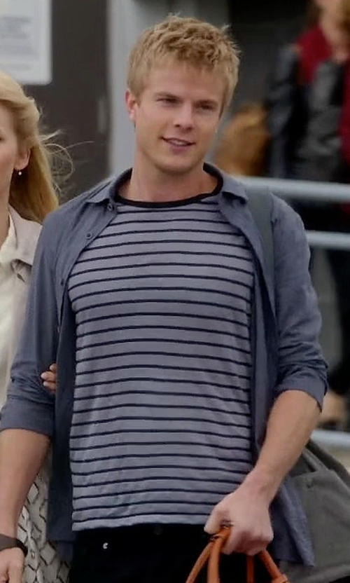 Graham Rogers with Saint Laurent Striped T-Shirt in Quantico