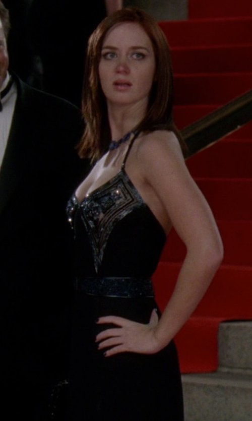 Emily Blunt with DresSale Scoop Neckline Chiffon Made Evening Dress in The Devil Wears Prada