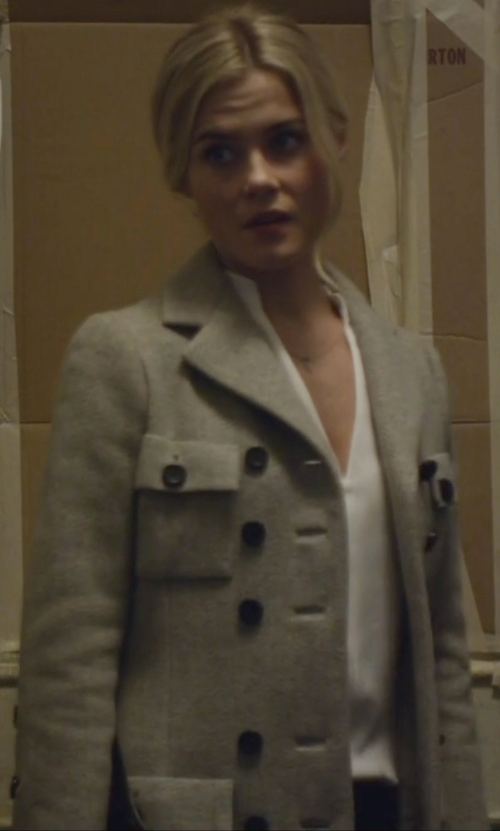Rachael Taylor with Burberry Prorsum Belted Wool-Blend Trench Coat in Jessica Jones