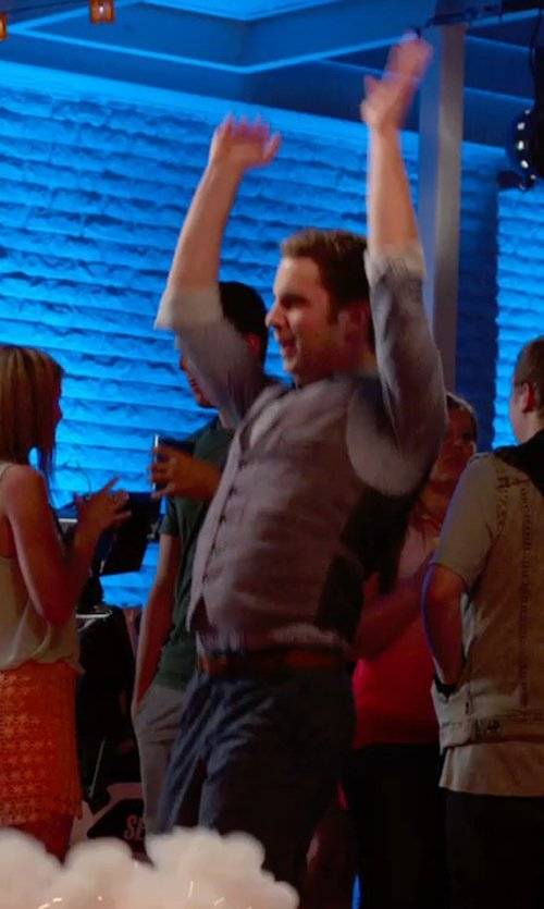 Ben Platt with Boss Hugo Boss Micro Check Cotton Dress Shirt in Pitch Perfect 2