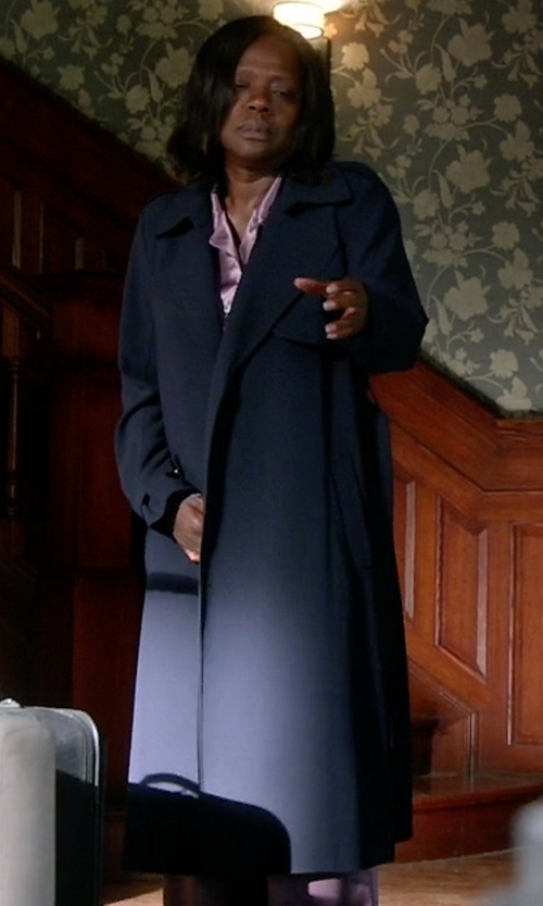 Viola Davis with Theory Soft Crepe Trench Coat in How To Get Away With Murder