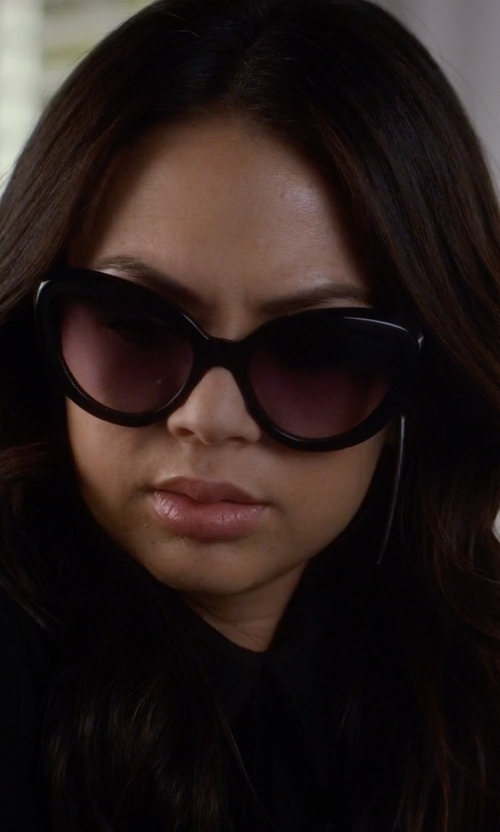 Janel Parrish with Prada 57mm Cat Eye Sunglasses in Pretty Little Liars