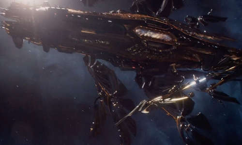 Unknown Actor with George Hull (Lead Conceptual Designer) The Aegis Space Ship in Jupiter Ascending