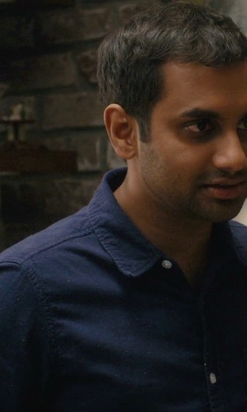 Aziz Ansari with J.Crew Slim Cotton-Wool Elbow-Patch Shirt in Master of None