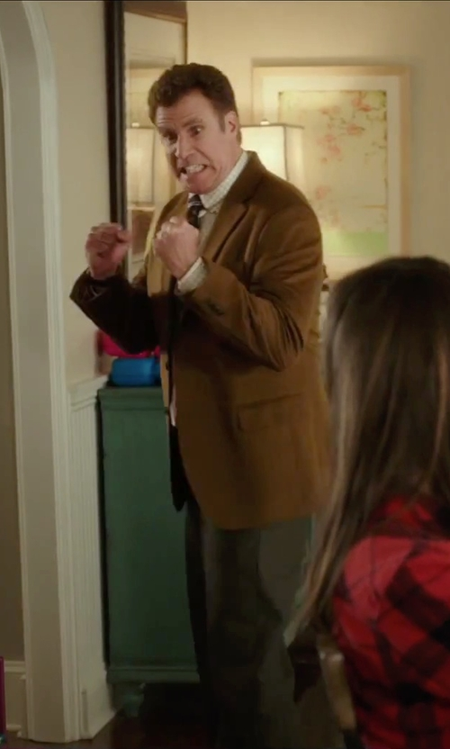 Will Ferrell with Black Brown 1826 Cotton Two-Button Blazer in Daddy's Home