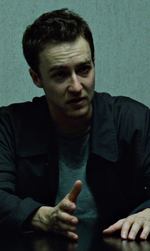 Edward Norton with Aquascutum Roadgate Raincoat in Fight Club