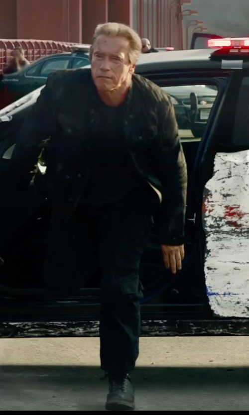 Arnold Schwarzenegger with Ridge Footwear Mid Side Zip ST Work Boot in Terminator: Genisys