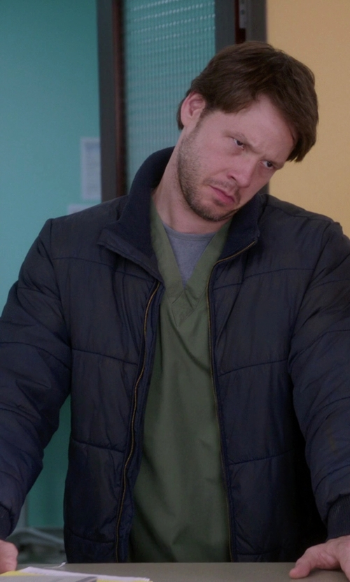 Ike Barinholtz with Baldessarini Padded Zip Jacket in The Mindy Project