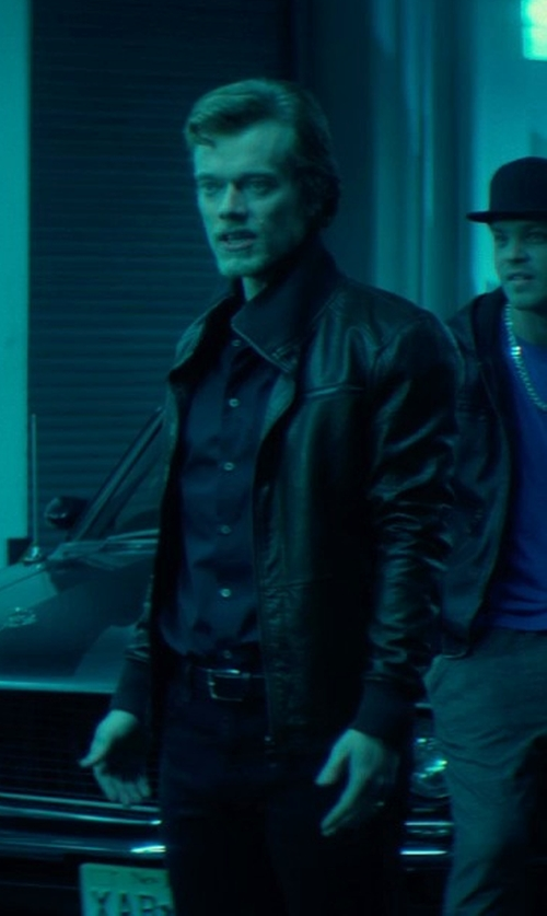 Alfie Allen with Elie Tahari Men's Open Bottom Leather Jacket in John Wick