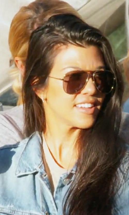 Kourtney Kardashian with Celine Mirror CL 41391 J5G MV Gold Metal Aviator Sunglasses in Keeping Up With The Kardashians
