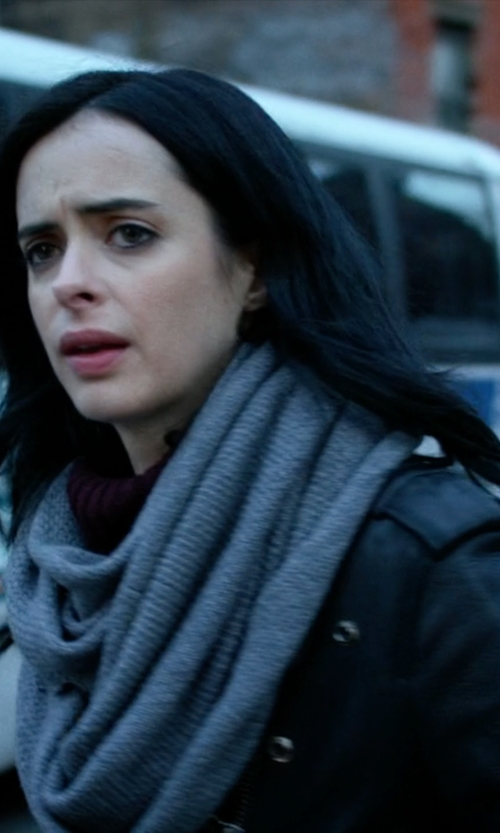 Krysten Ritter with Calvin Klein Textured Stripe Infinity Scarf in Jessica Jones