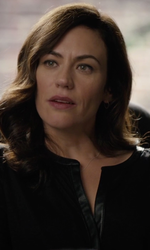 Maggie Siff with Vince Leather Contrast Tunic Top in Billions