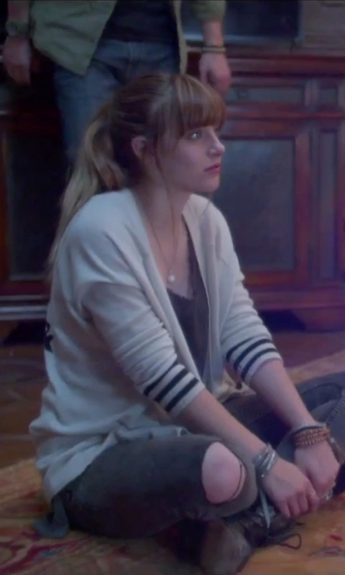 Aubrey Peeples with Lisakai Open Cardigan in Jem and the Holograms