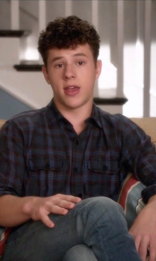 Nolan Gould with Salt Valley Acid Washed Plaid Button-Down Workshirt in Modern Family