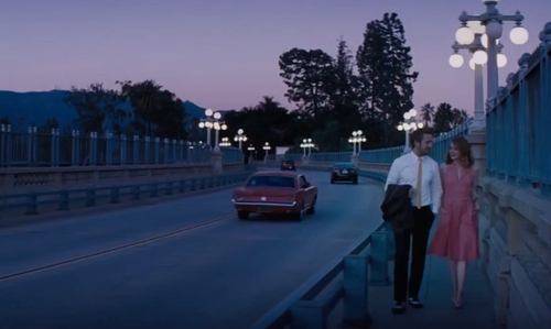Ryan Gosling with Colorado Street Bridge Pasadena, California in La La Land