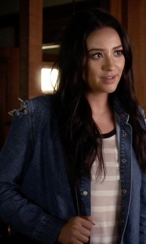 Shay Mitchell with Asos Denim Midwash Shirt With Rips in Pretty Little Liars