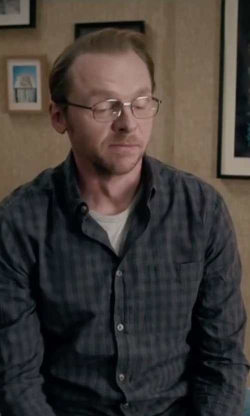 Simon Pegg with Jack & Jones Crew Neck T-Shirt in Absolutely Anything