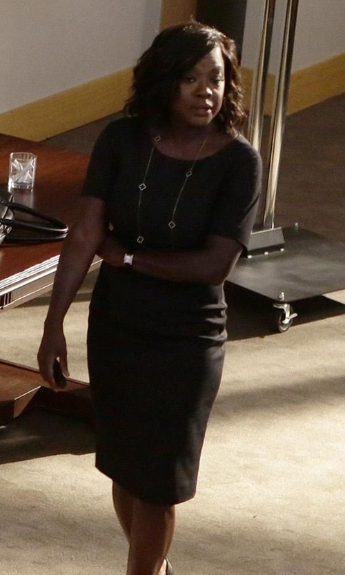 Viola Davis with Agnona Short-Sleeve Sheath Dress in How To Get Away With Murder