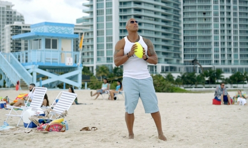 Dwayne Johnson with North Miami Beach Miami, Florida in Ballers