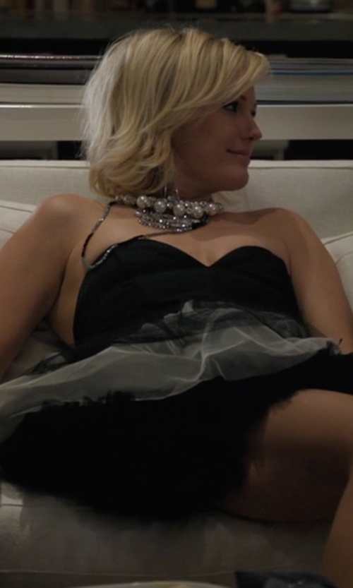 Malin Akerman with Bella Forte Boutique Strapless Black Dress in Billions
