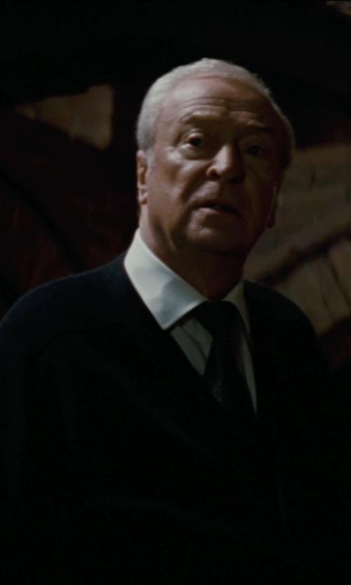 Michael Caine with Giorgio Armani Custom Made Cardigan (Alfred) in The Dark Knight Rises