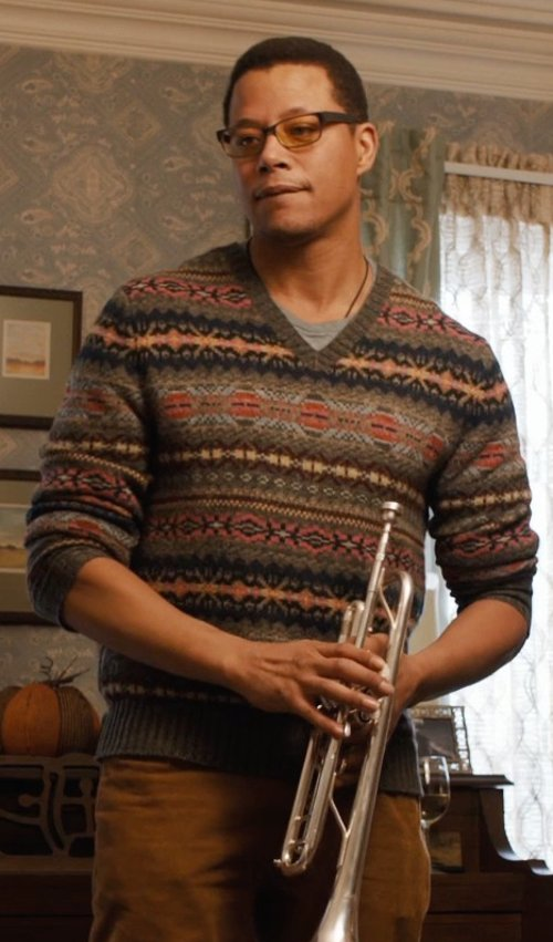 Terrence Howard  with Polo Ralph Lauren Mens Knit Wool/Alpaca Blend Crewneck Sweater in Prisoners