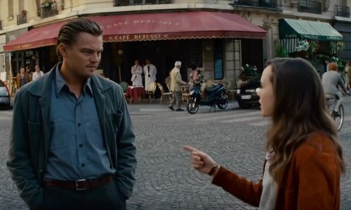 Leonardo DiCaprio with Il Russo (depicted as Cafe Debussy) Paris, France in Inception