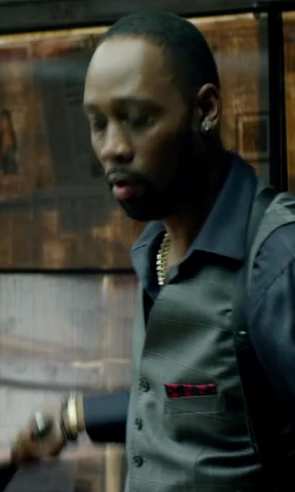 RZA with TITLE OF WORK BETRAYAL COTTON VOILE POCKET SQUARE in Brick Mansions
