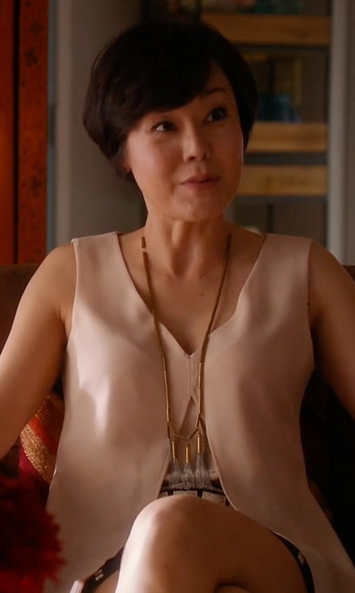 Yunjin Kim with BCBGMAXAZRIA Svetlana Cropped Overlay Top in Mistresses
