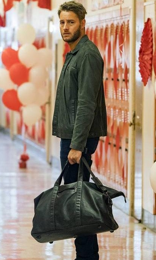 Justin Hartley with Hex Convertible Duffel Bag in This is Us