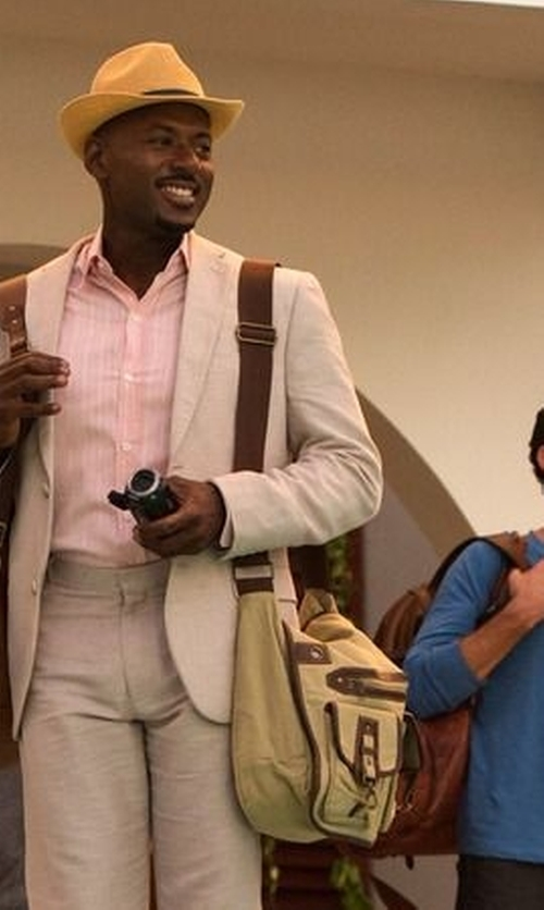 Romany Malco with River Island Canvas Satchel Bag in Mad Dogs