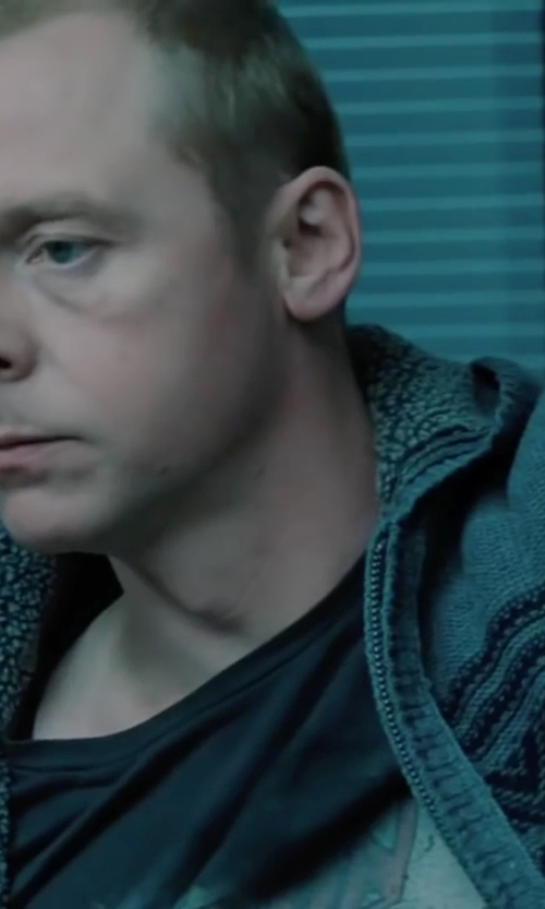 Simon Pegg with Franklin & Marshall Multi Color Pattern Cardigan in Mission: Impossible - Ghost Protocol