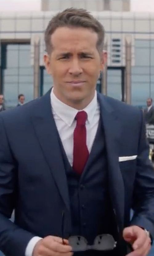Ryan Reynolds with Z Zegna Three-Piece Suit in The Hitman's Bodyguard