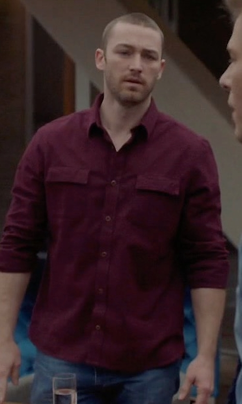 Jake McLaughlin with Nudie Over-Dyed Organic Cotton Sport Shirt in Quantico