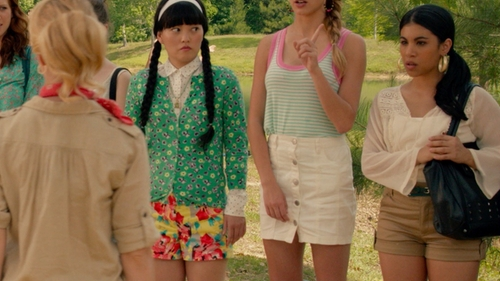 Chrissie Fit with American Rag Lace-Trimmed Peasant Blouse in Pitch Perfect 2