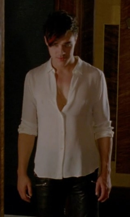 Finn Wittrock with Camoshita by United Arrows Button Down Shirt in American Horror Story
