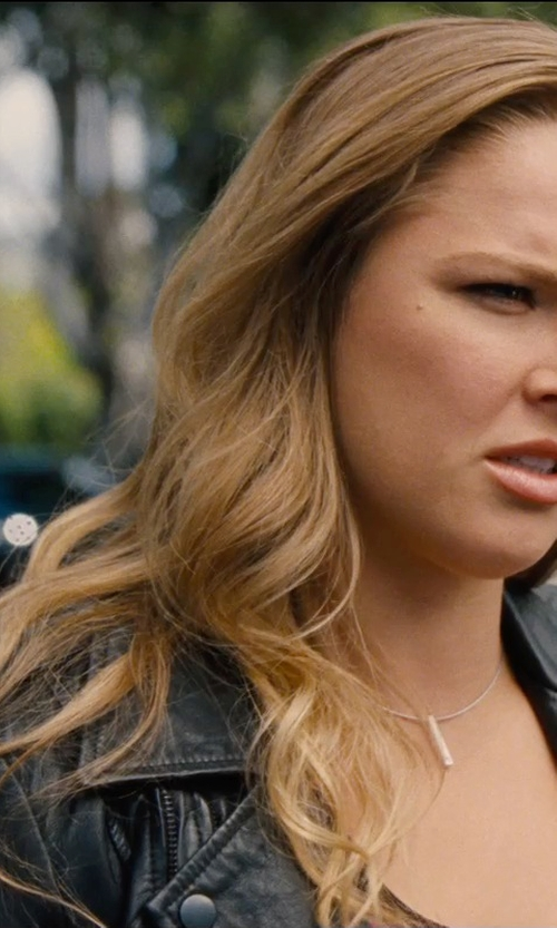 Ronda Rousey with Bernardo Asymmetrical Leather Moto Jacket in Entourage