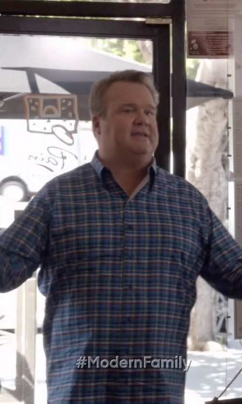 Eric Stonestreet with Robert Talbott Anderson Classic Fit Plaid Sport Shirt in Modern Family