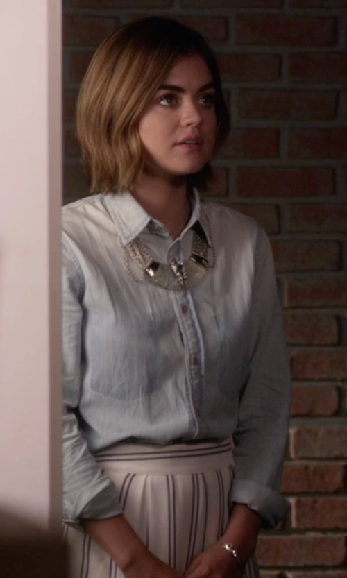 Lucy Hale with J.O.A.  Vertical Stripe Skirt in Pretty Little Liars