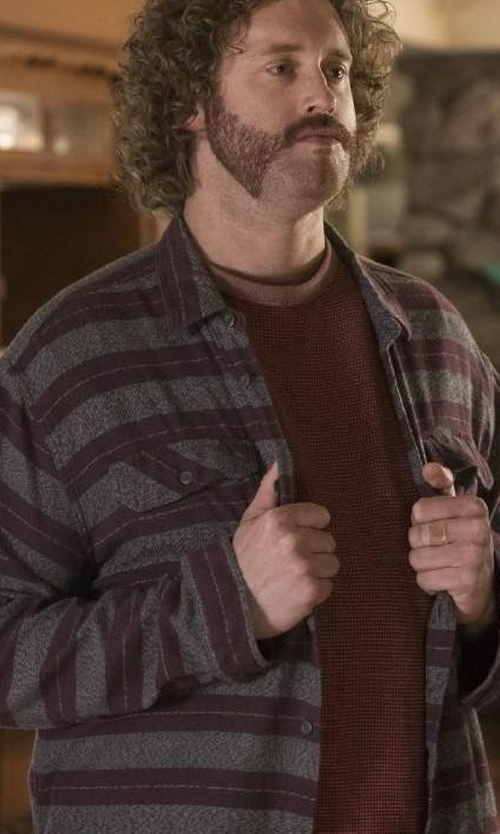 T.J. Miller with Thaddeus O'Neil Earth Stripe Button Down Shirt in Silicon Valley
