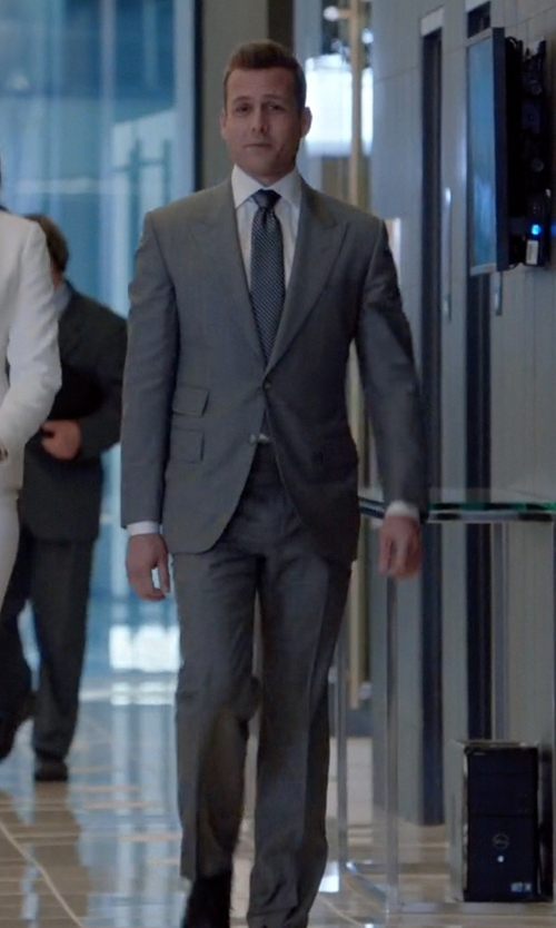 Gabriel Macht with Huntsman Grey Slim-Fit Wool Suit in Suits